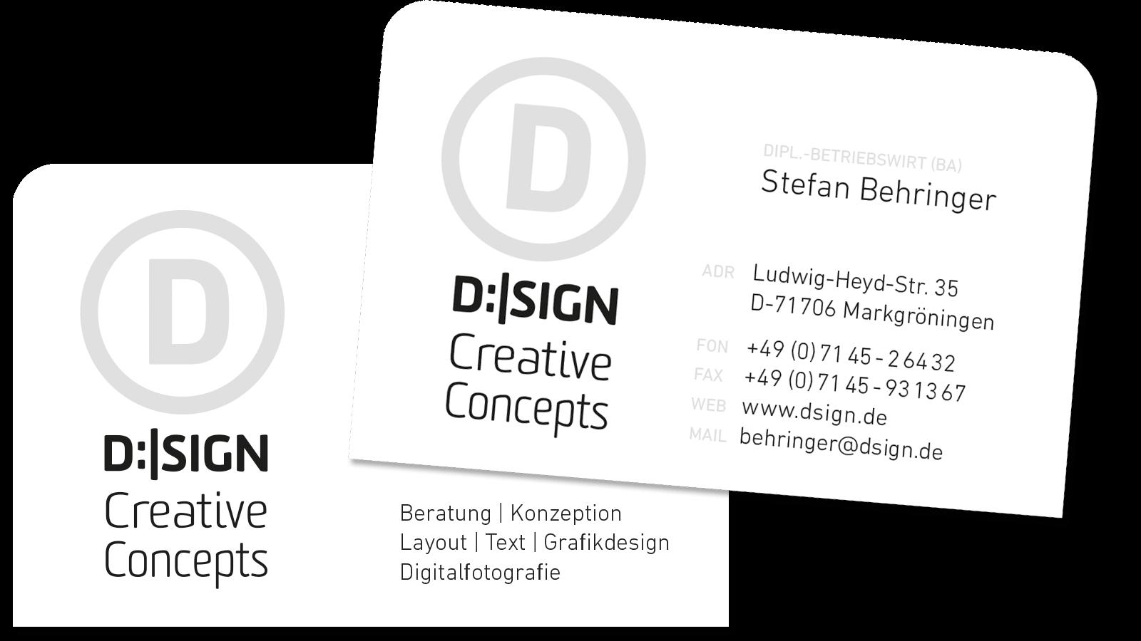 Visitenkarten D Sign Creativeconcepts