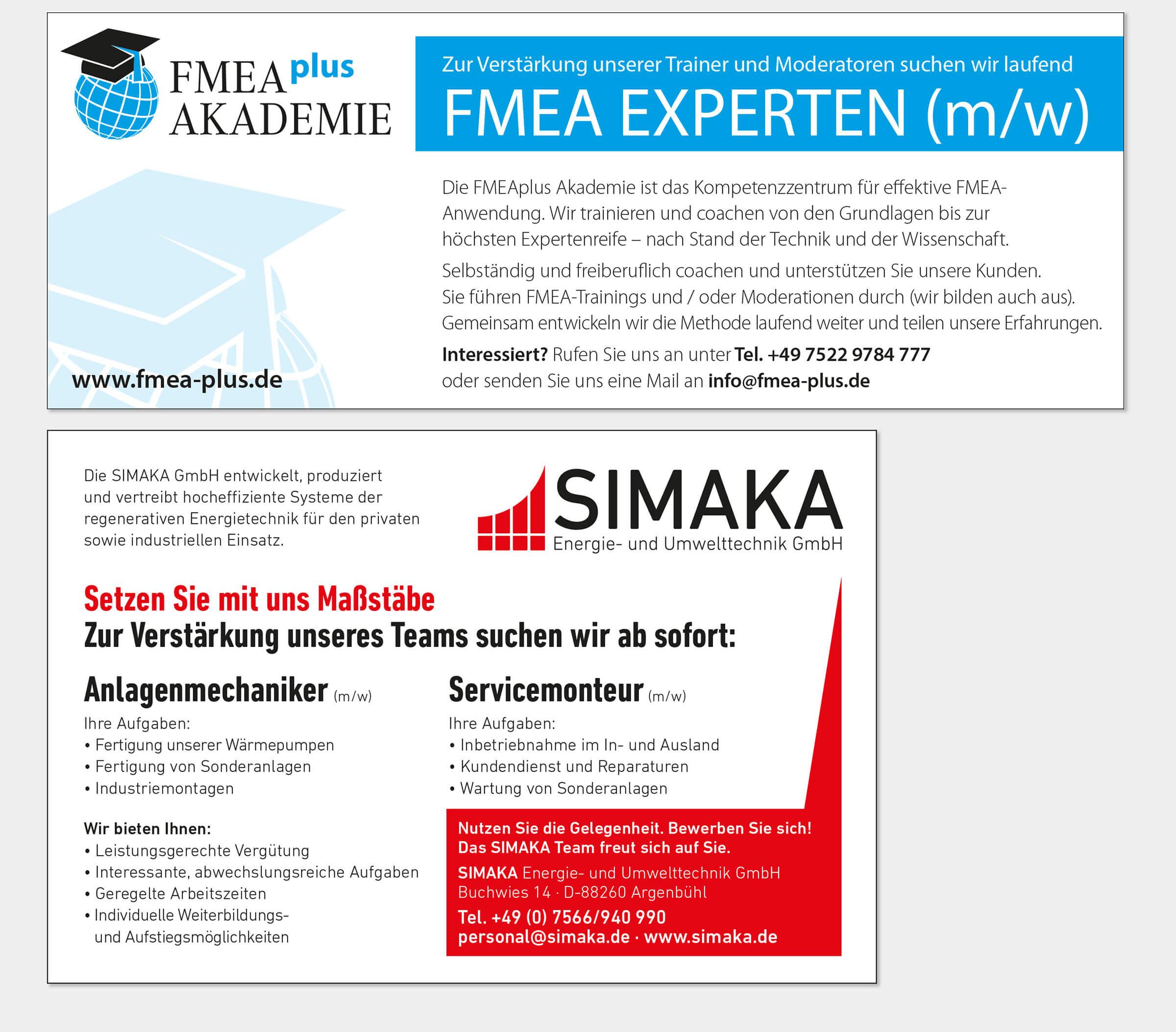 Personalanzeigen FMEAplus und SIMAKA